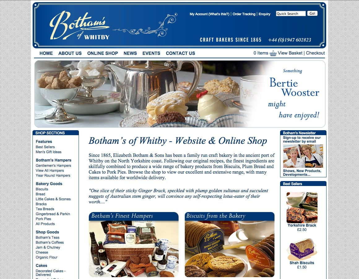 Media Vision website design - Bothams of Whitby
