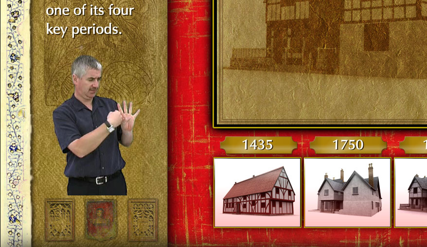 Deaf signer overlaid on Nantclwyd House interactive