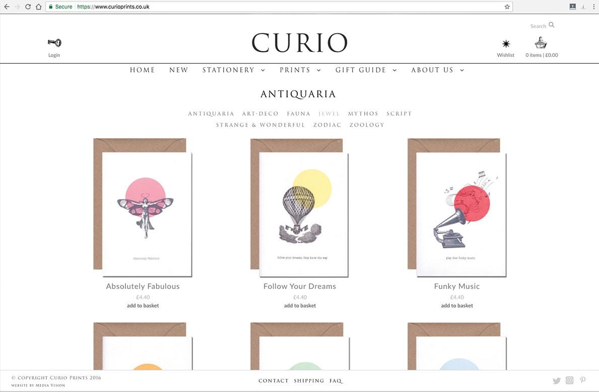 Curio Prints shop page