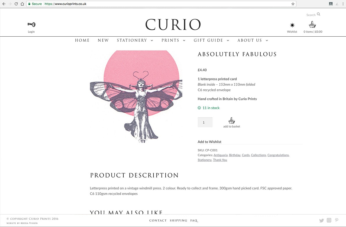 Curio Prints product page