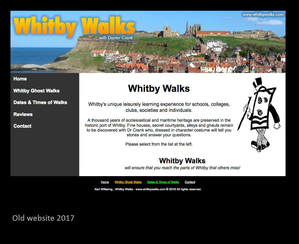 A new website for the popular and long-running ghost walk - Whitby Walks in Whitby